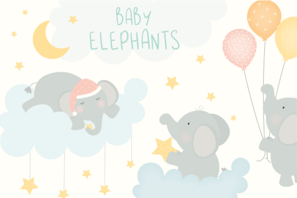 Print on Demand: Baby Elephants Clipart Graphic Illustrations By poppymoondesign