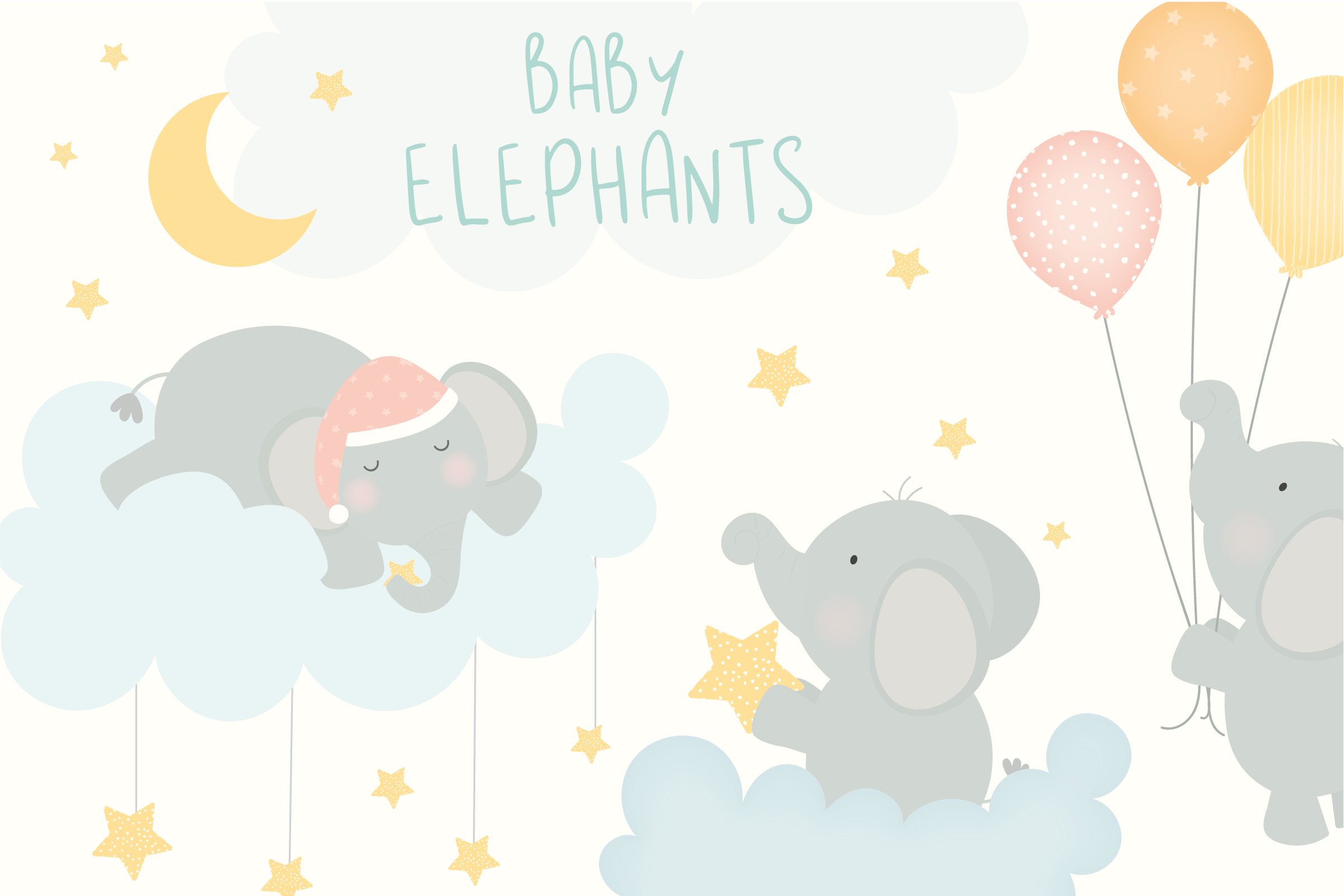 Download Free Baby Elephants Clipart Graphic By Poppymoondesign Creative Fabrica for Cricut Explore, Silhouette and other cutting machines.