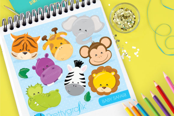Print on Demand: Baby Safari Clip Art Graphic Illustrations By Prettygrafik