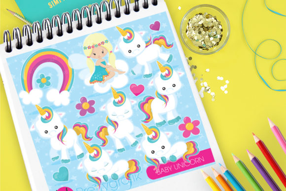 Print on Demand: Baby Unicorn Clip Art Graphic Illustrations By Prettygrafik