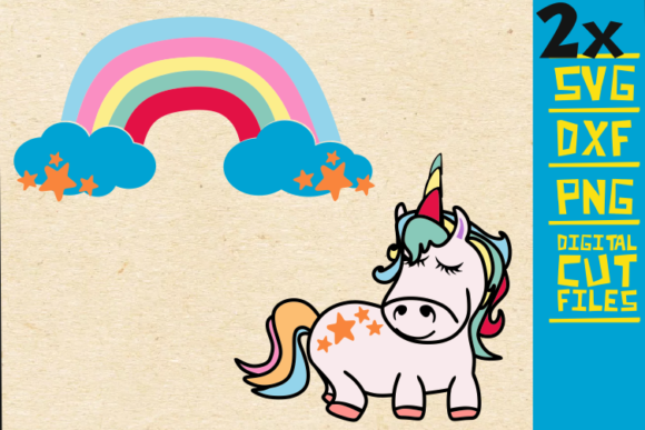 Baby Unicorn Svg Rainbow Svg Birthday Grafico Por