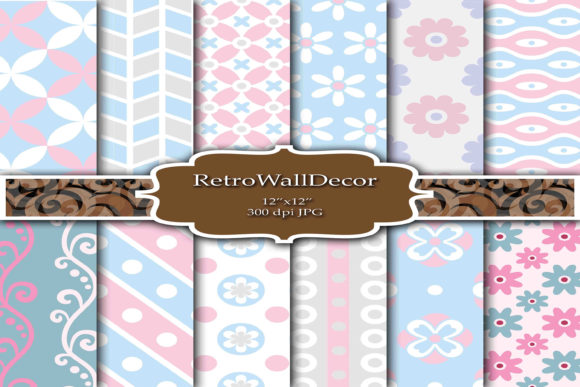 Print on Demand: Baby Digital Papers Graphic Backgrounds By retrowalldecor