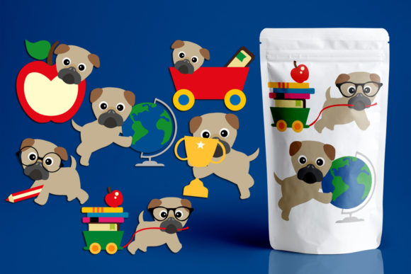 Print on Demand: Back to School Pugs Graphic Illustrations By Revidevi