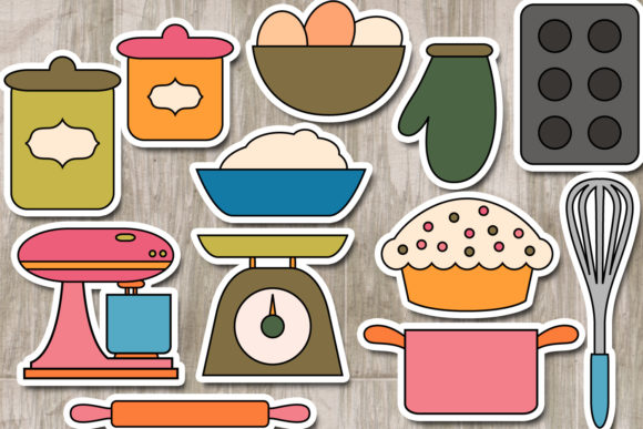 Download Free Baking Utensils Graphic By Revidevi Creative Fabrica for Cricut Explore, Silhouette and other cutting machines.