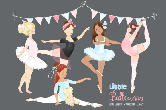 Ballerinas Ballet Dancing Girl Clipart Graphic By kabankova Image 2