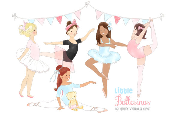 Ballerinas Ballet Dancing Girl Clipart Graphic By kabankova Image 1