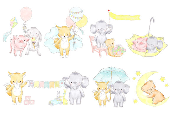 Balloon Baby Animals Watercolor Clipart Graphic By kabankova Image 2