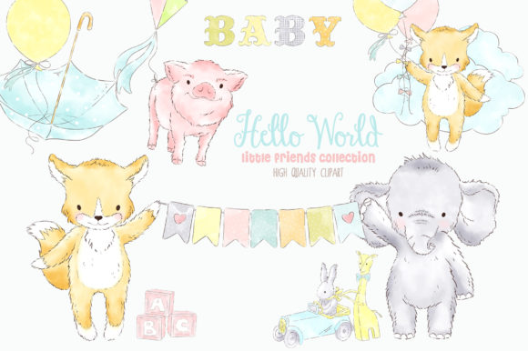 Balloon Baby Animals Watercolor Clipart Graphic Illustrations By kabankova