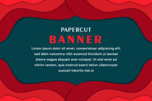 Banner Horizontal Paper Cut Red Graphic By noory.shopper