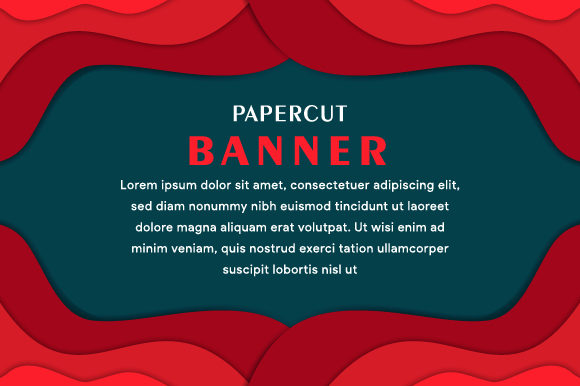 Banner Horizontal Paper Cut Red Graphic By noory.shopper Image 1