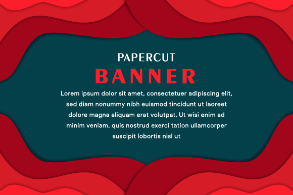Download Free Banner Horizontal Paper Cut Red Graphic By Noory Shopper for Cricut Explore, Silhouette and other cutting machines.