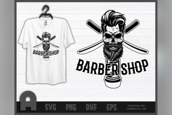 Download Free Barber Shirt I Barbershop Retro Skull Graphic By Aartstudioexpo for Cricut Explore, Silhouette and other cutting machines.