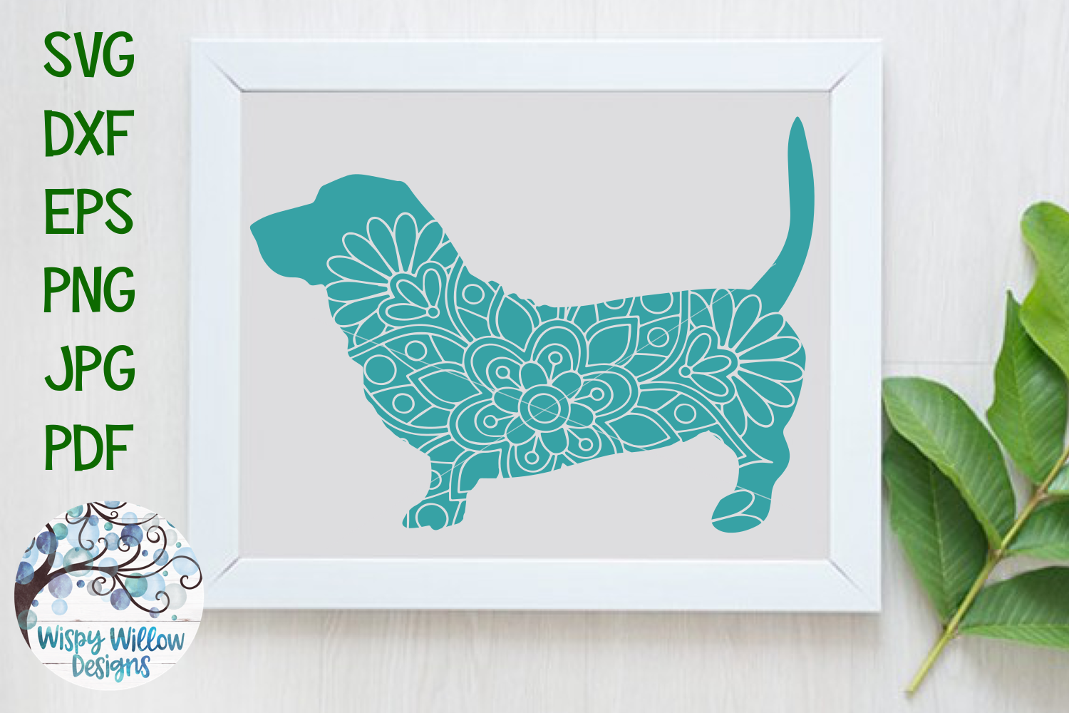 Download Free Basset Hound Dog Mandala Zentangle Svg Graphic By for Cricut Explore, Silhouette and other cutting machines.