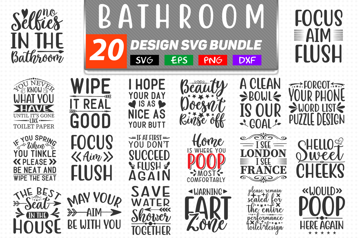 Download Free Bathroom Quotes Bundle Graphic By Handmade Studio Creative Fabrica for Cricut Explore, Silhouette and other cutting machines.