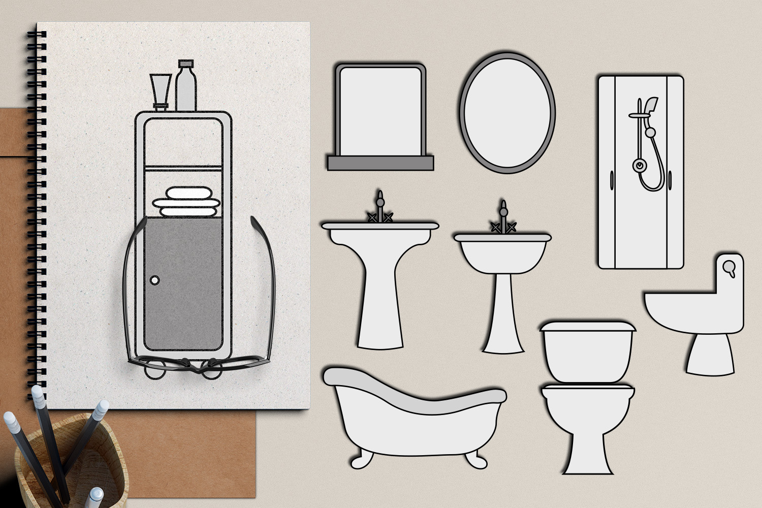 Download Free Bathroom Grafik Von Revidevi Creative Fabrica for Cricut Explore, Silhouette and other cutting machines.
