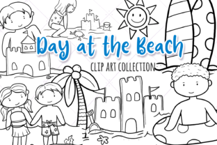 Print on Demand: Beach Day (Black and White) Graphic Illustrations By Keepinitkawaiidesign