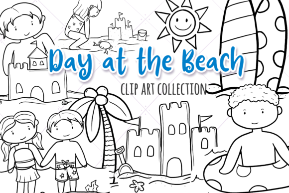 Download Free Beach Day Black And White Graphic By Keepinitkawaiidesign for Cricut Explore, Silhouette and other cutting machines.