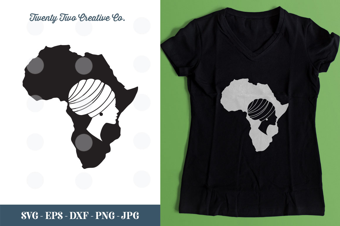 Download Free Beautiful African Woman Svg Graphic By Twenty Two Creative Fabrica for Cricut Explore, Silhouette and other cutting machines.