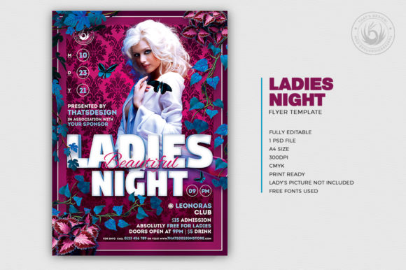 Beautiful Ladies Night Flyer Template Graphic By ThatsDesignStore Image 2