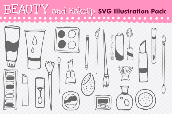 Download Free Beauty And Makeup Svg Illustration Pack Graphic By Artsbynaty for Cricut Explore, Silhouette and other cutting machines.