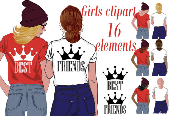 Download Free Best Friends Clipart Girls Clipart Graphic By Chilipapers for Cricut Explore, Silhouette and other cutting machines.