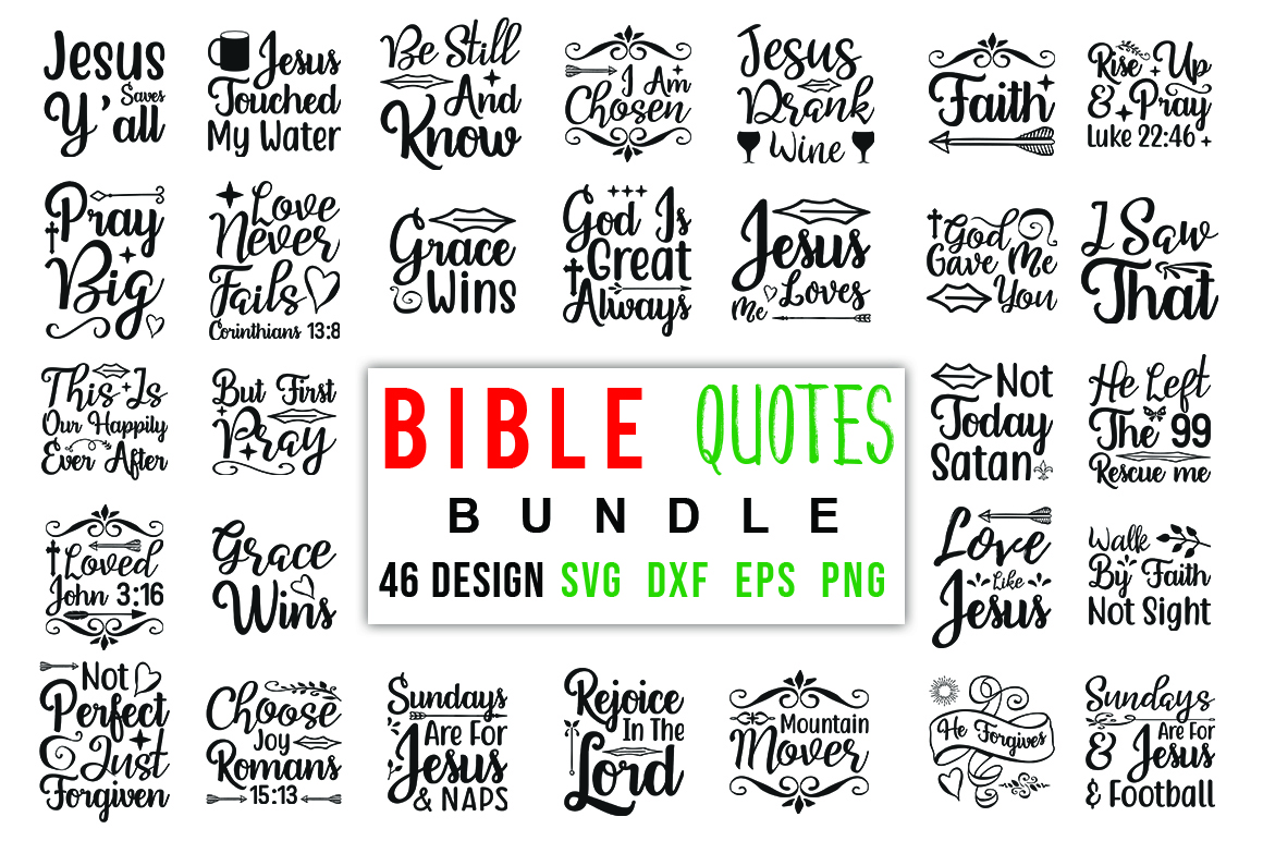 Download Free Bible Quotes Mega Bundle Graphic By Red Box Creative Fabrica for Cricut Explore, Silhouette and other cutting machines.