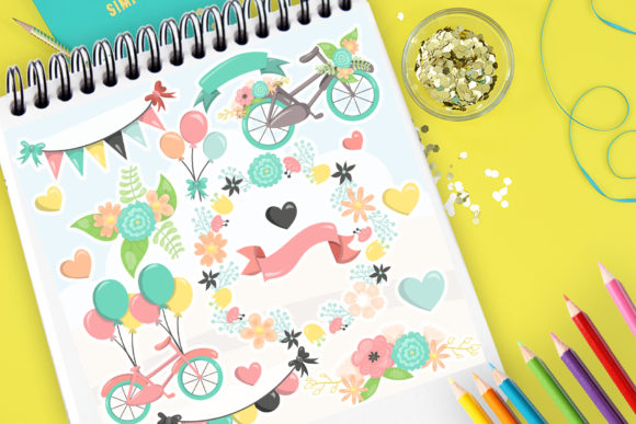 Print on Demand: Bicycle Flowers Graphic Illustrations By Prettygrafik