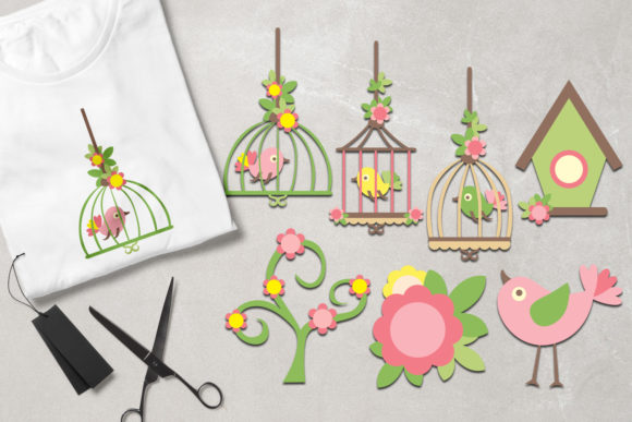Print on Demand: Bird and Birdcage Graphic Illustrations By Revidevi
