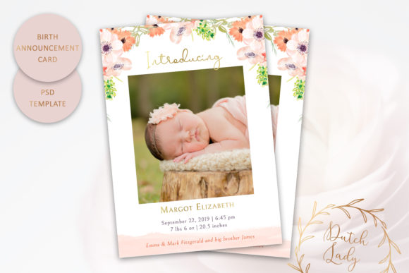 Print on Demand: Birth Announcement Card Template #8 Graphic Print Templates By daphnepopuliers - Image 1