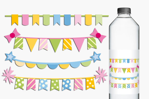 Print on Demand: Birthday Bunting Banners Graphic Illustrations By Revidevi