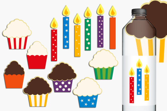 Print on Demand: Birthday Candles and Cupcakes Graphic Illustrations By Revidevi