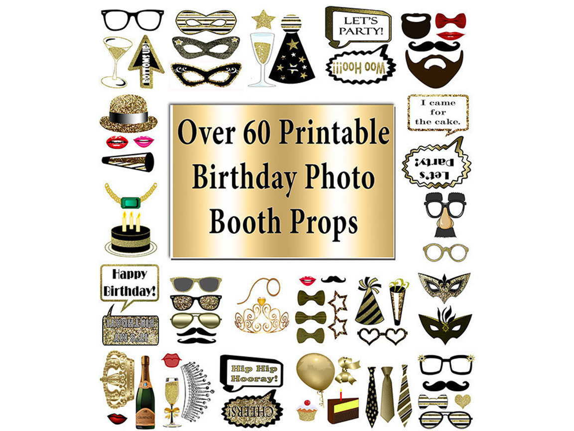 Download Free Birthday Photo Booth Props Gold 60 Pcs Graphic By for Cricut Explore, Silhouette and other cutting machines.