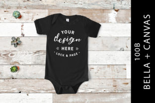 Black Baby Bella Canvas 100B One Piece Graphic Product Mockups By lockandpage