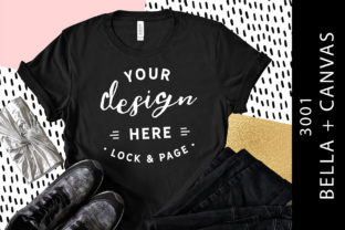 Black Bella Canvas 3001 T Shirt Mockup Graphic Product Mockups By lockandpage