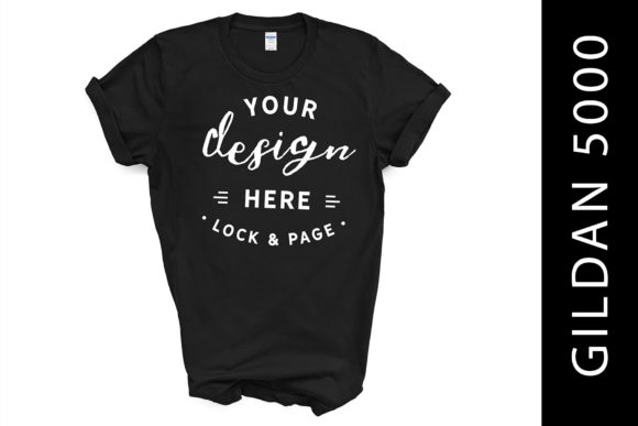Black Gildan 5000 TShirt Mockup White BG Graphic Product Mockups By lockandpage