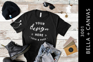 Black Mens Bella Canvas 3001 Mockup Tee Graphic Product Mockups By lockandpage