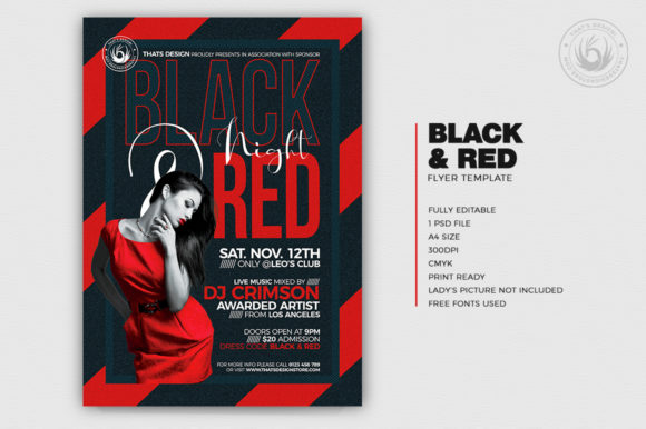 Black and Red Flyer Template V5 Graphic Print Templates By ThatsDesignStore - Image 2