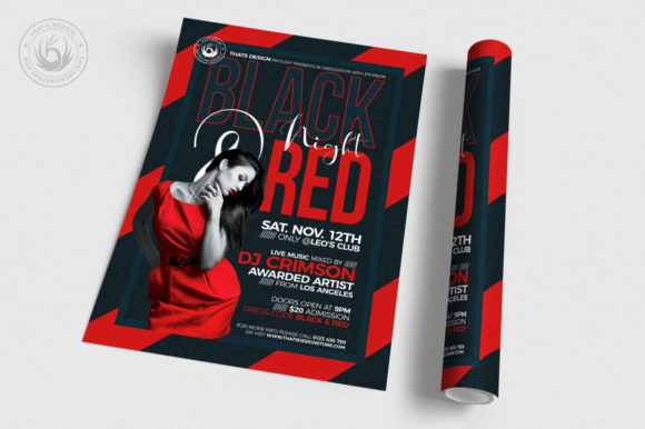 Black and Red Flyer Template V5 Graphic Print Templates By ThatsDesignStore - Image 3