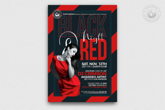 Black and Red Flyer Template V5 Graphic Print Templates By ThatsDesignStore - Image 1