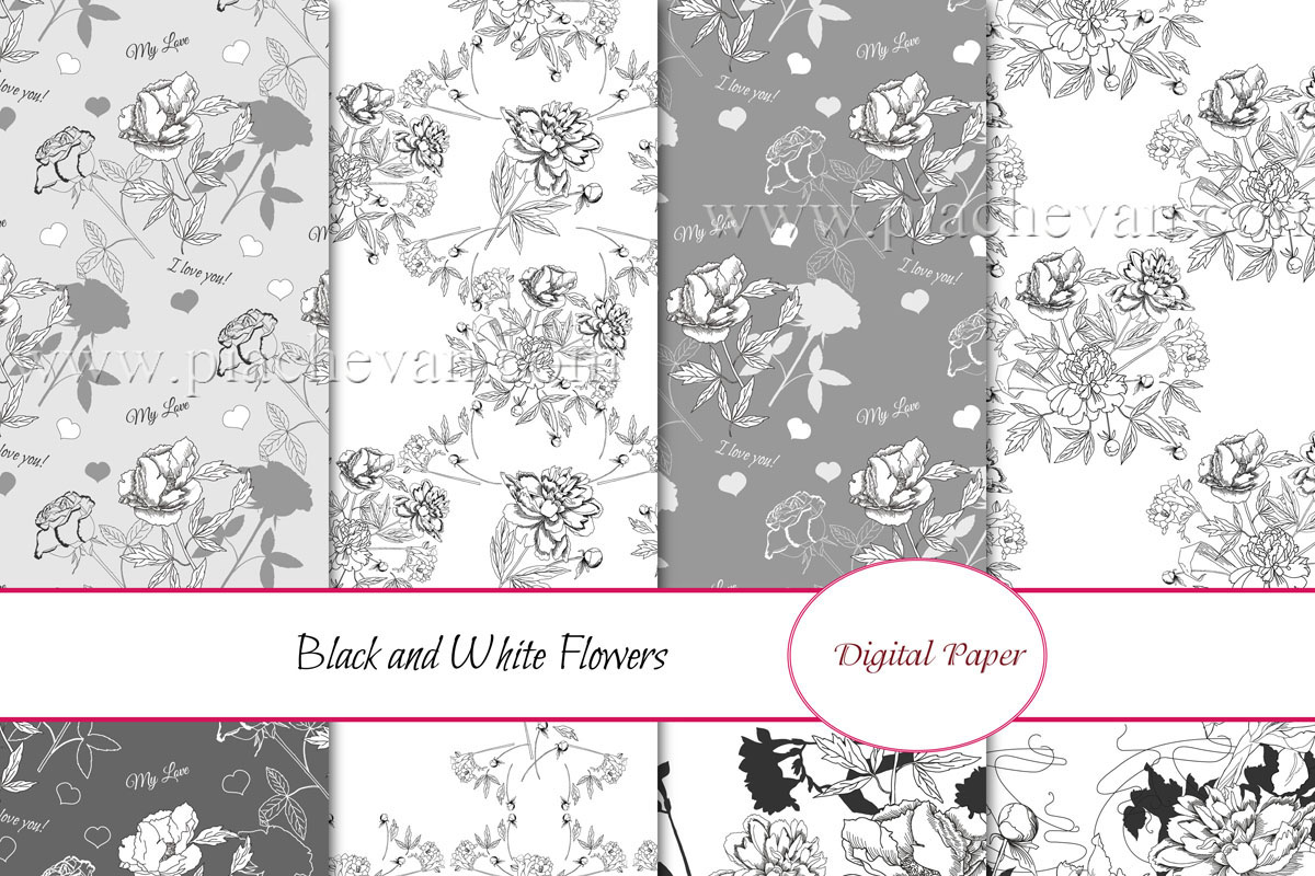 Download Free Black And White Flowers Digital Paper Graphic By Natalia for Cricut Explore, Silhouette and other cutting machines.