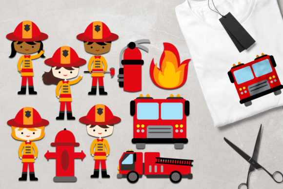 Print on Demand: Firefighter Graphic Illustrations By Revidevi
