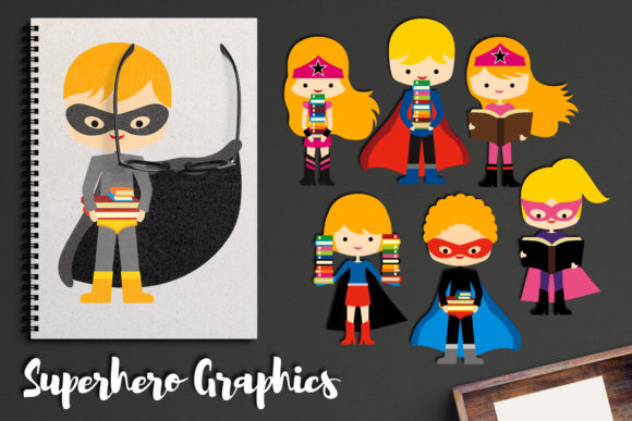 Print on Demand: Blond Superhero with Books Graphic Illustrations By Revidevi