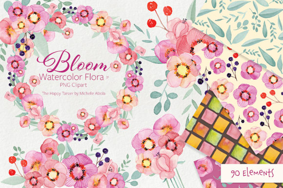 Bloom Watercolor Floral Clipart Graphic By Michelle Alzola