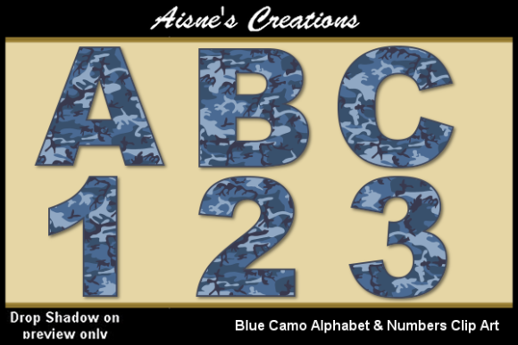 Print on Demand: Blue Camo Alphabet & Numbers Graphic Illustrations By Aisne - Image 1