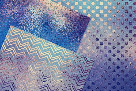 Blue Gold Pattern & Foil Textures Graphic By artisssticcc Image 2