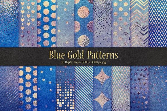 Blue Gold Pattern & Foil Textures Graphic By artisssticcc Image 1