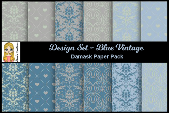 Blue Vintage - Damask Paper Pack Graphic By Aisne