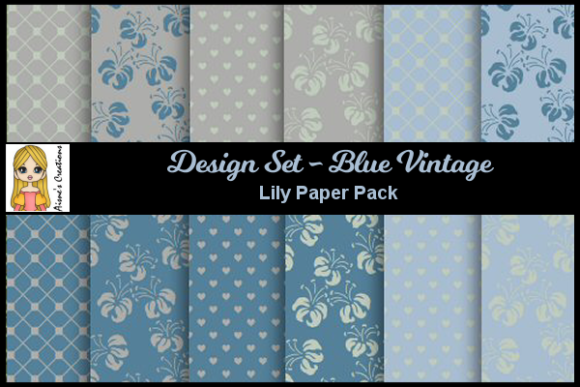 Blue Vintage - Lily Paper Pack Graphic By Aisne