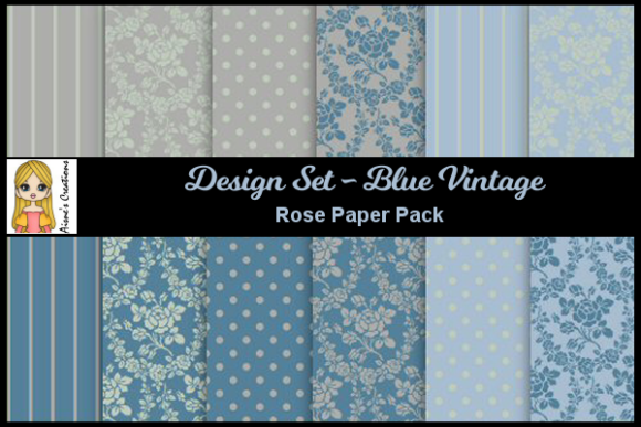 Blue Vintage - Rose Paper Pack Graphic By Aisne