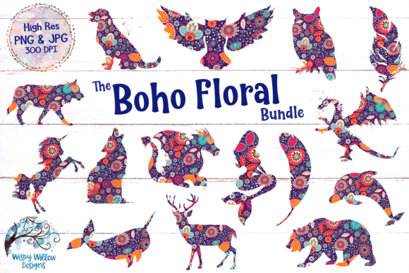 Boho Flower Clipart Bundle, Sublimation Graphic Crafts By WispyWillowDesigns - Image 1